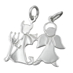 PENDANT, FRIENDSHIP, ANGEL-DEVIL, SILVER 925