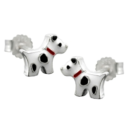 EARRING STUDS, DOG WITH DOTS, SILVER 925