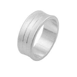 RING, 2 LINES, CONCAVE, MATT FINISH, SILVER 925