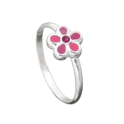 Ring, For Children, Pink Flower, Silver 925