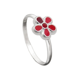 Ring, For Children, Red Flower, Silver 925