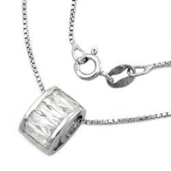 Necklace with Round Pendant, Zirconia, Silver 925