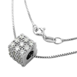 Necklace with Cubic Pendant, Zirconia, Silver 925