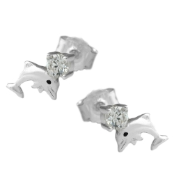 Ear studs, Dolphins with Zirconia, Silver 925