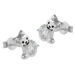 Ear studs, Cat with cubic zirconia, Silver 925