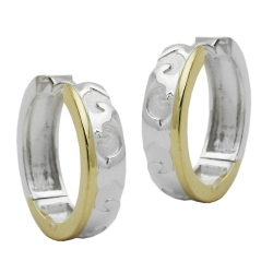 Hoop Earrings, Patterned, Silver 925