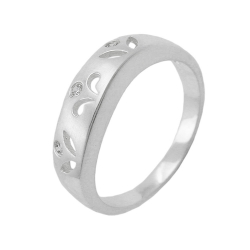 Ring, 3 Zirconia Crystals, Silver 925