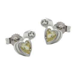 Stud Earrings, CZ Peridot/ Light Green, Silver 925