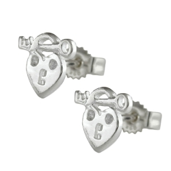 Stud Earrings, Heart with Key, Silver 925