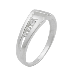Ring, 7 mm, 3x zirconia, silver 925
