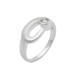 Ring, 9mm, Zirconia Crystal, Silver 925