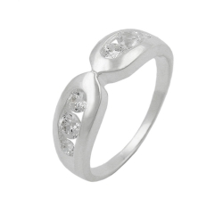 Ring, 6mm, 6 Zirconia Crystals, Silver 925
