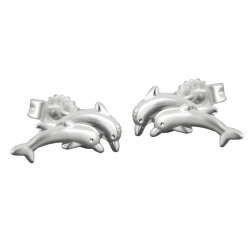 EARSTUDS, 11MM DOLPHIN, SILVER 925