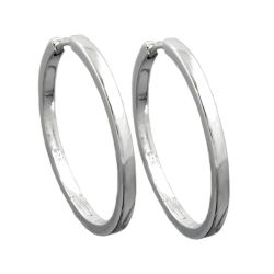 Hoop Earrings, 26mm x 2mm, Silver 925