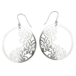 Hook Earrings, Butterfly, Silver 925