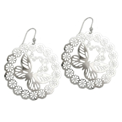 Hook Earrings, Butterfly & Flowers, Silver 925