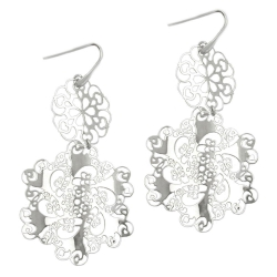 Hook Earrings, Flowers, Silver 925