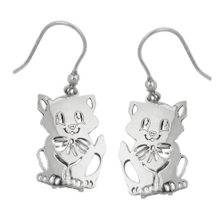 Hook Earrings, Cats, Silver 925