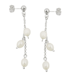 earring, pearls on chain, silver 925