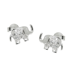 earrings, studs, elephant, silver 925