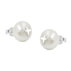 earrings studs, cross, pearl, silver 925