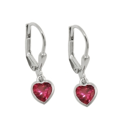 leverback earrings, heart, silver 925