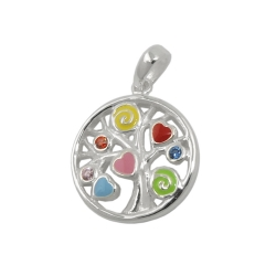 pendant tree of live coloured silver 925