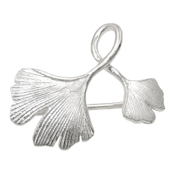 Brooch double ginkgo leaf silver 925