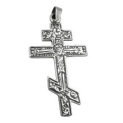 pendant russian cross oxid. silver 925
