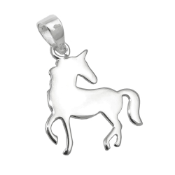 pendant flat unicorn polished silver 925