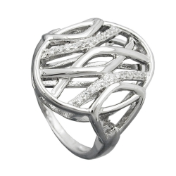 RING, MANY ZIRCONIAS, SILVER 925
