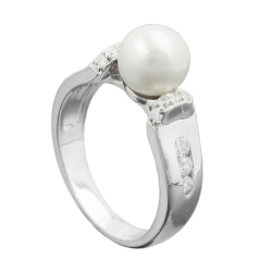 RING, PEARL AND ZIRCONIAS, SILVER 925