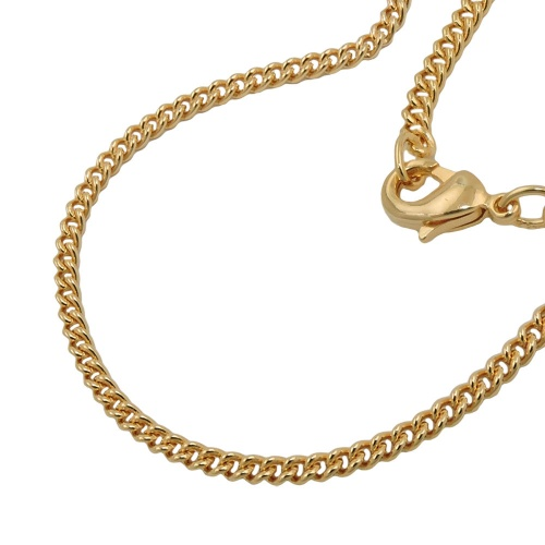 curb chain, 50cm, gold plated