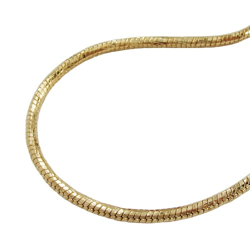 Necklace, round snake chain, gold plated, 50cm