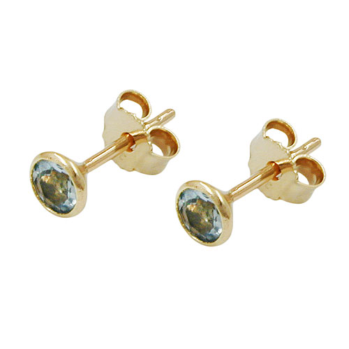 Stud Earrings, Aqua 4mm, 8K Gold
