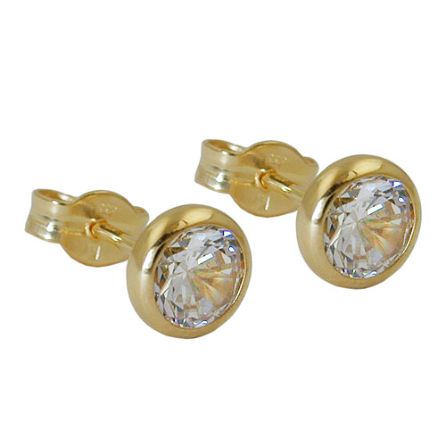 Stud Earrings, White Zirconia, 8K Gold