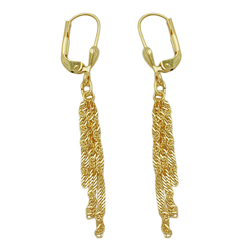 Leverback Earrings, Singapore Chain, 8K Gold