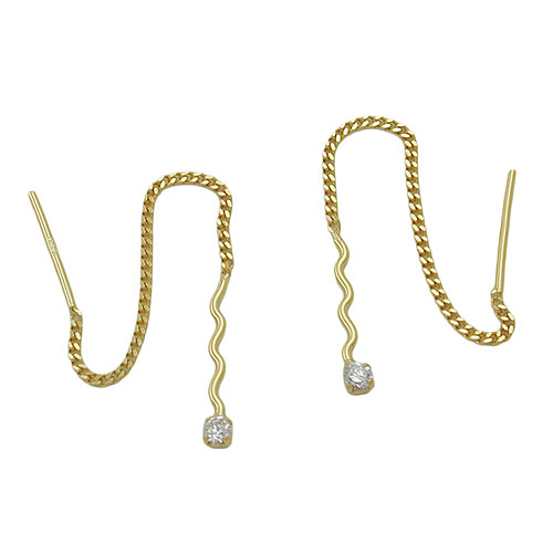 Chain Earrings, Wave with Zirconia, 8K Gold