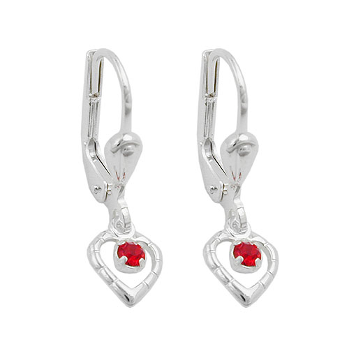 LEVERBACK EARRINGS HEART RED SILVER 925