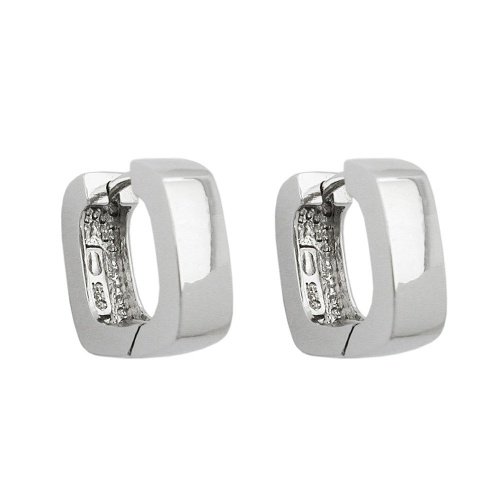 Hoop Earrings, Square, Silver 925