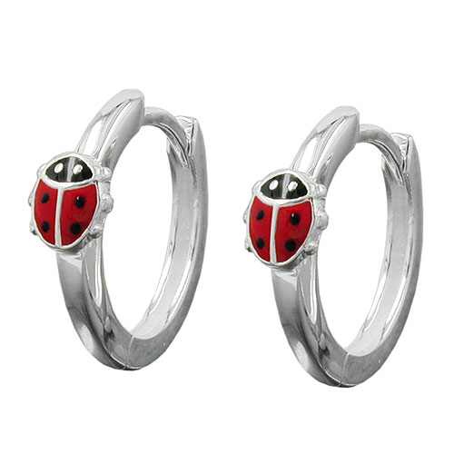 HOOP EARRINGS, LADYBIRD, SILVER 925