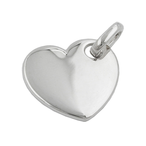 PENDANT, HEART, POLISHED, SILVER 925