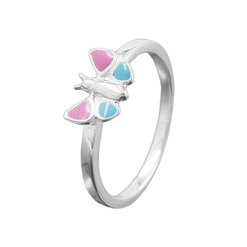 Ring, Pink/Blue Butterfly, Silver 925