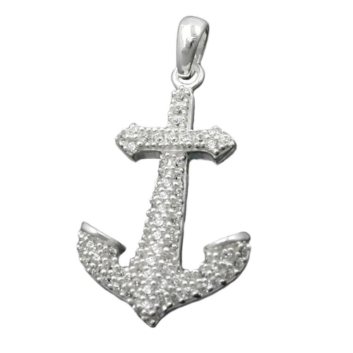 Pendant, Anchor with Zirconia, Silver 925