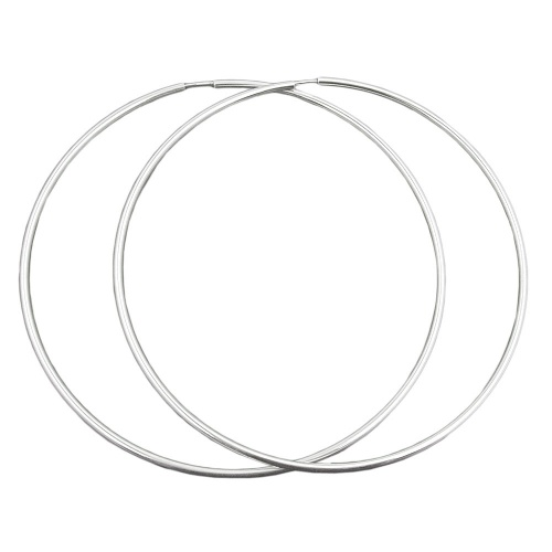Hoop Earrings, 100mm, Silver 925
