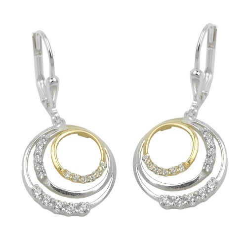 leverback earrings, circles, silver 925