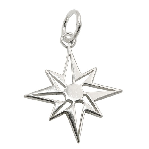 pendant star compass windrose silver 925