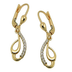 Leverback earrings with stone GOLD