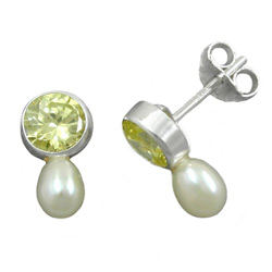Studs with Pearls and Beads, Silver 925