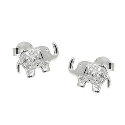 Animal studs with stone Silver 925